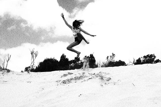 Jump in the sand Fraser Island
