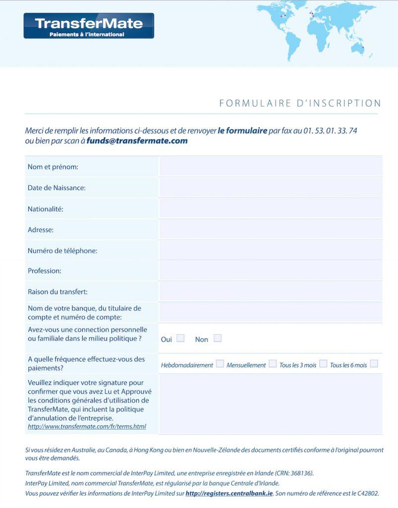 transfermate-formulaire