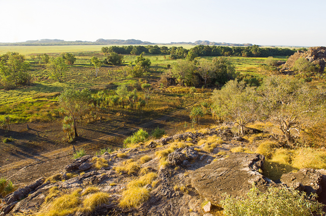 Ubirr, East Alligator region of Kakadu National Park in the Northern Territory, Australia, known for Aboriginal rock art. It consists of rock outcrops on the edge of the Nadab floodplain