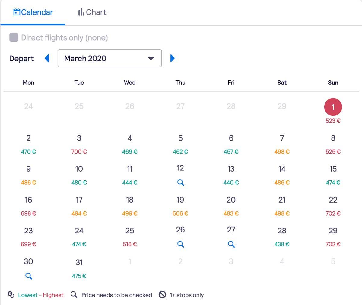 calendrier comparateur de vols billet d'avion australie