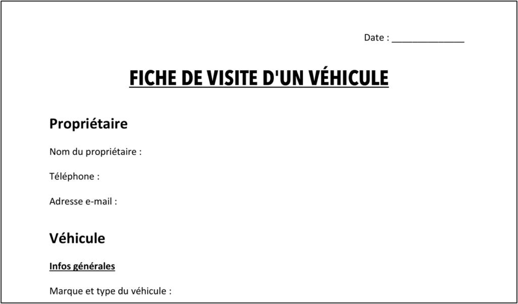 Fiche de visite d'un véhicule