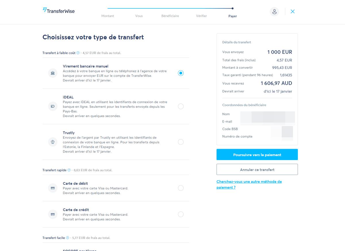 Tutoriel TransferWise - Confirmation du transfert