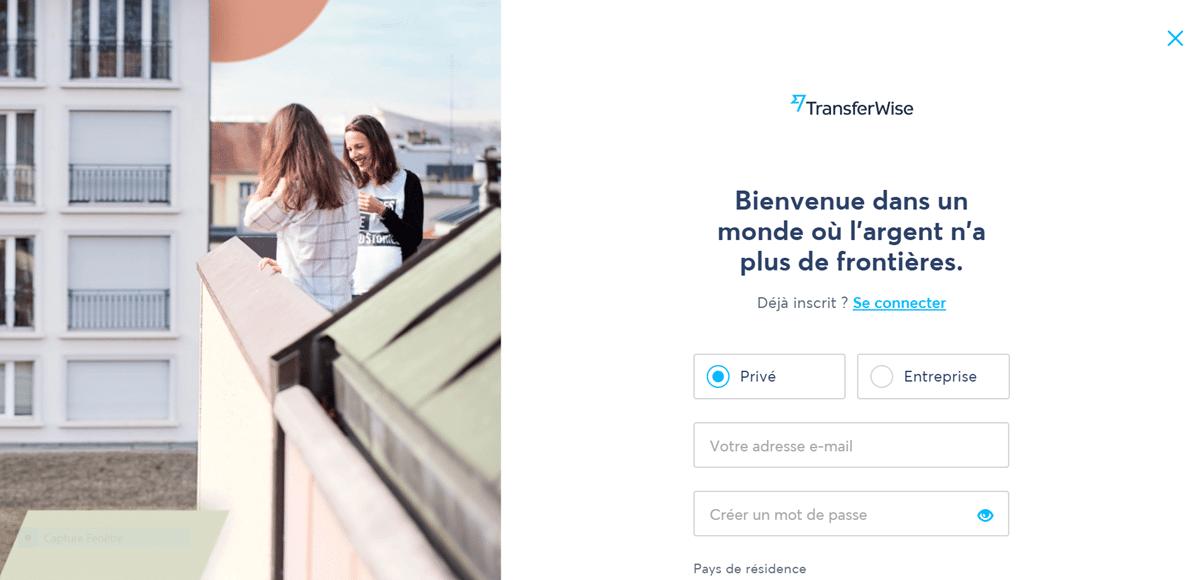 comment fonctionne transferwise Première étape de l'inscription auprès de TransferWise
