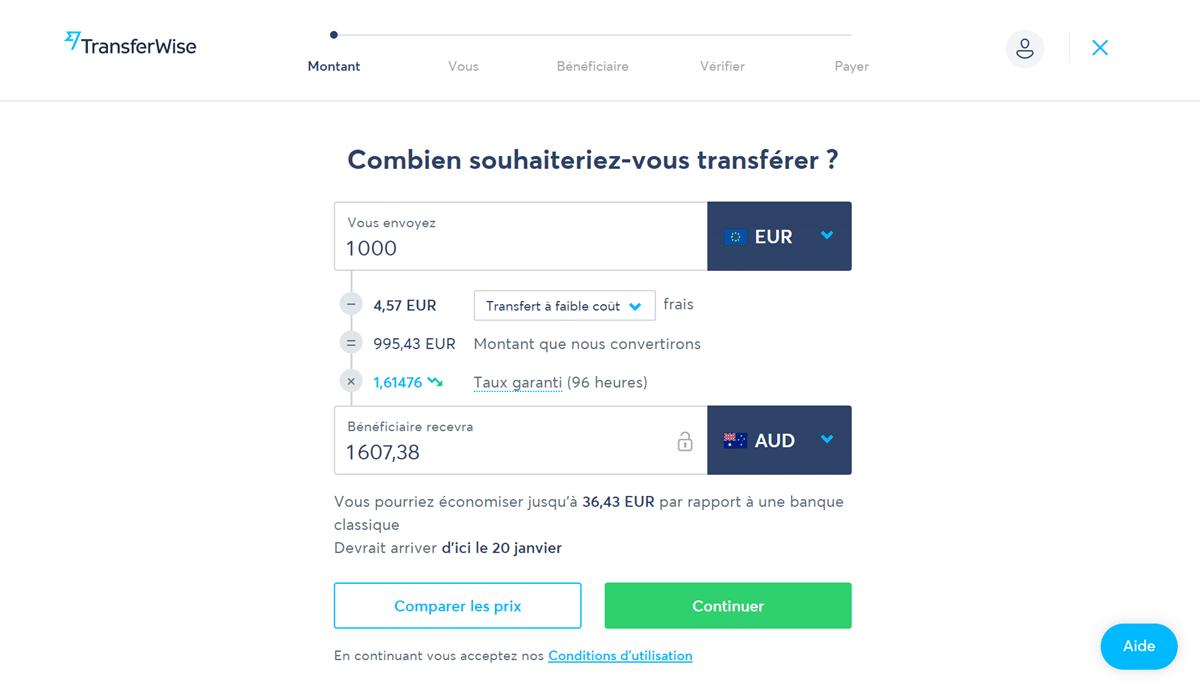 TransferWise - Définir votre transfert d'argent
