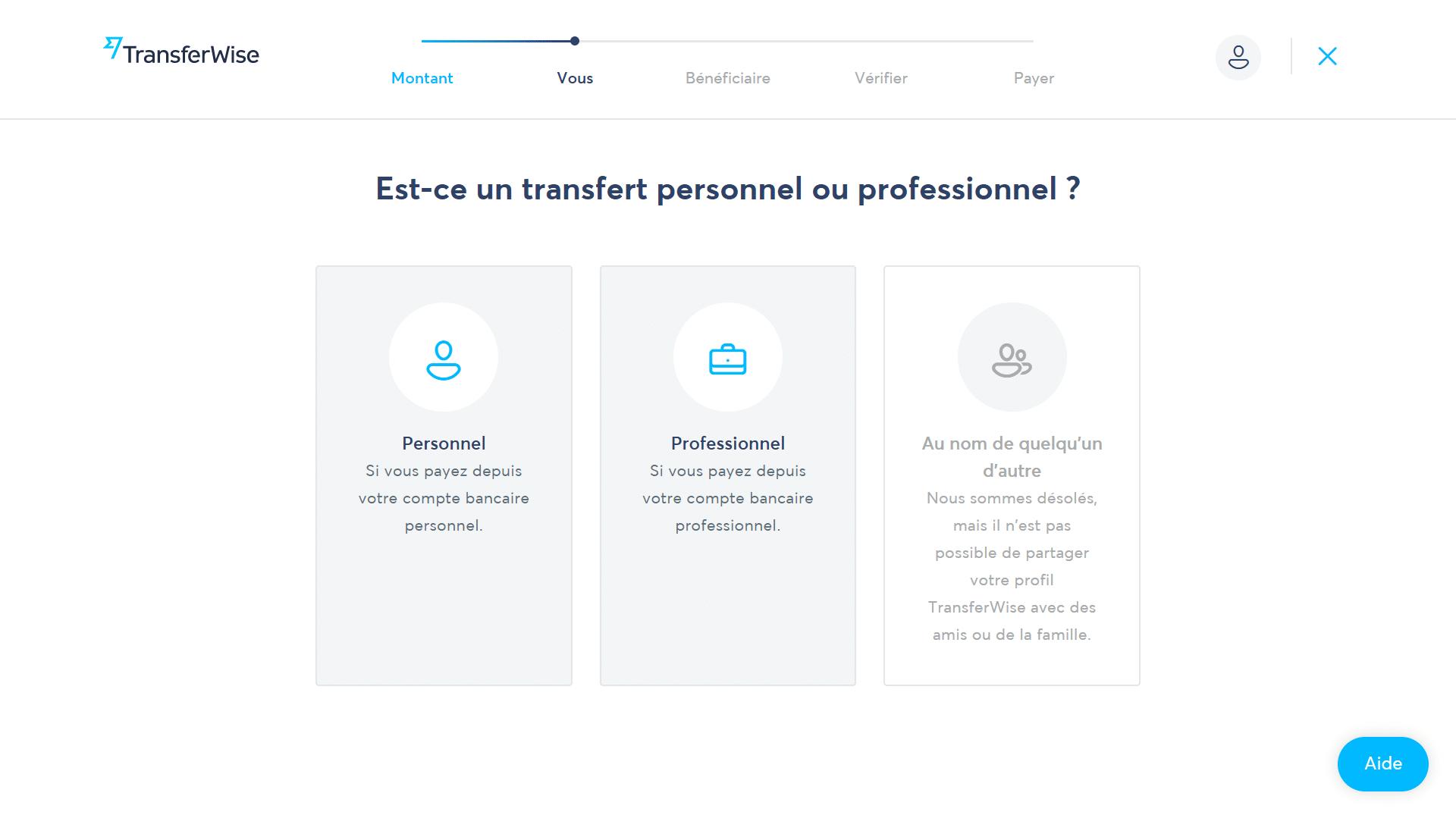 TransferWise - Sélectionner le type de transfert comment fonctionne transferwise
