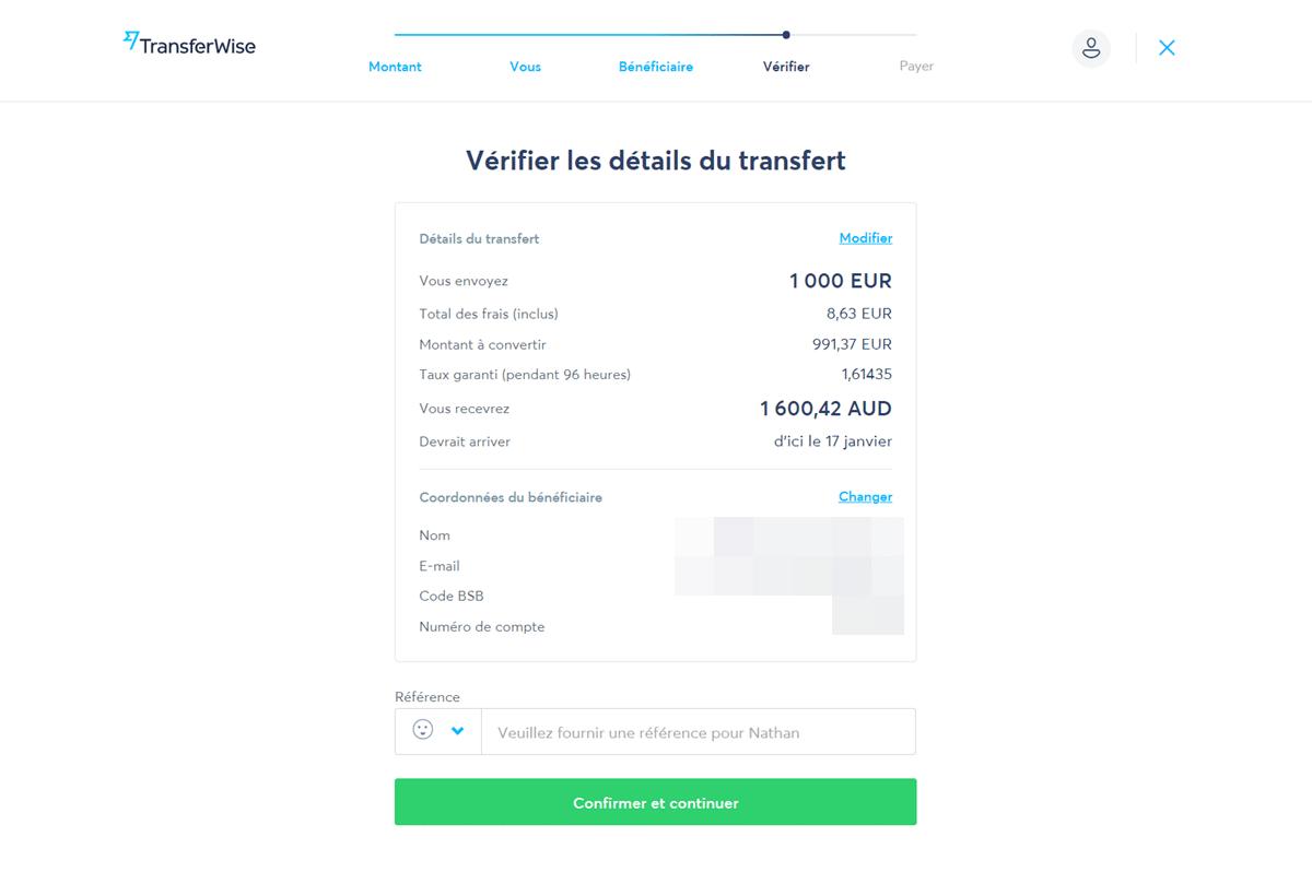 comment fonctionne transferwise Vérifier les détails du transfert