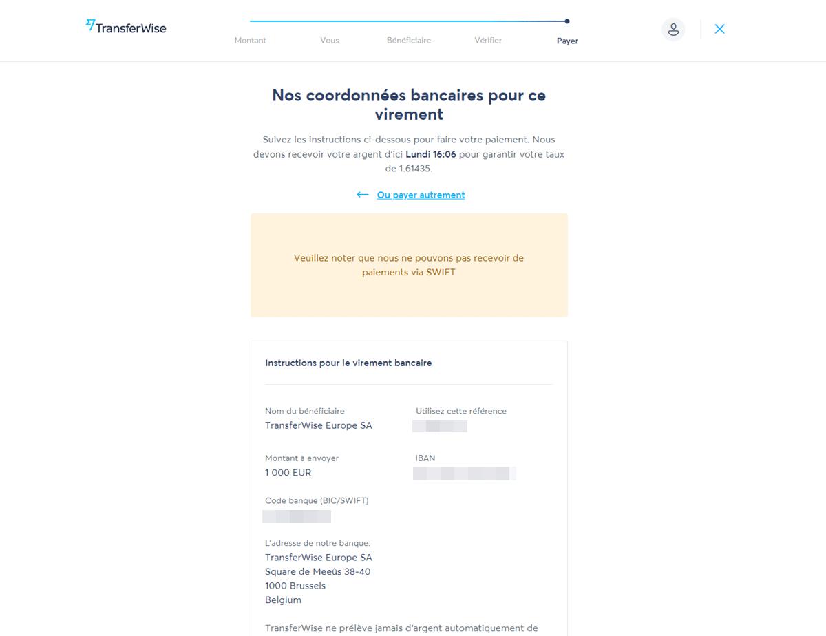 Coordonnées bancaires de TransferWise
