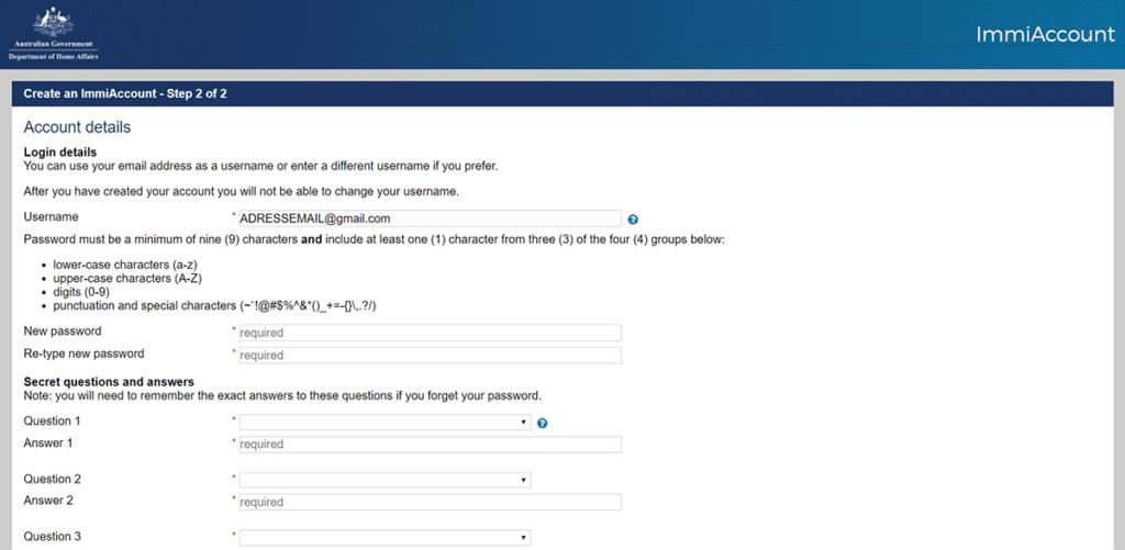 tutoriel whv australie tuto demande whv étape 7 créer un immiaccount sécuriser votre compte et s'inscrire