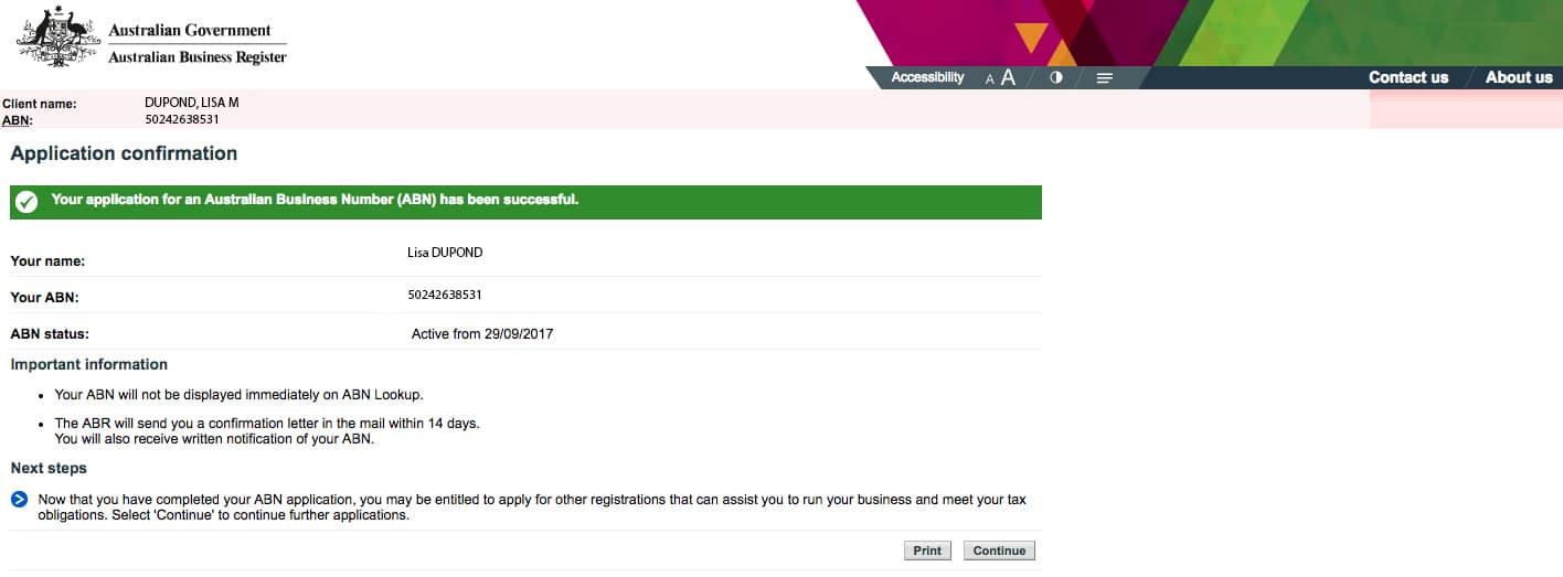 tuto demande abn australie confirmation de la demande étape 13