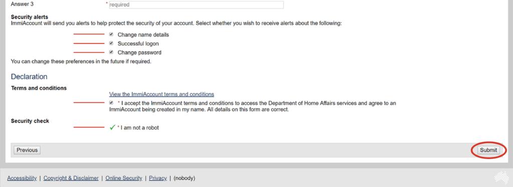 tutoriel whv australietuto demande whv étape 7 créer un immiaccount sécuriser votre compte et s'inscrire suite
