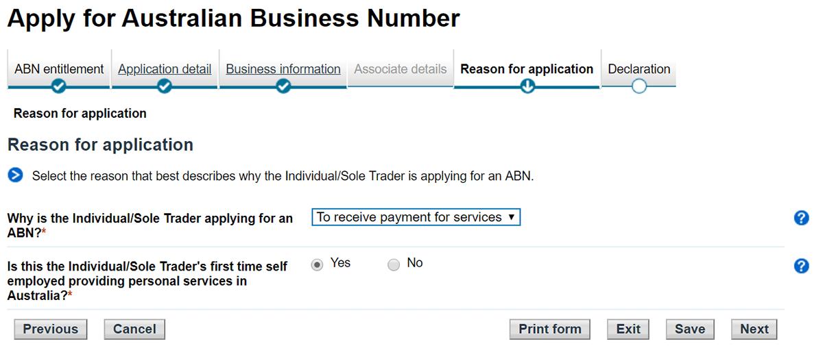tuto demande abn australie motif de votre demande d'abn étape 11