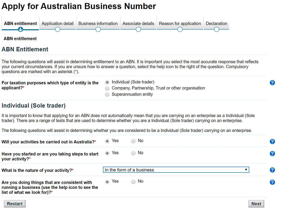abn australie forme de votre société étape 3