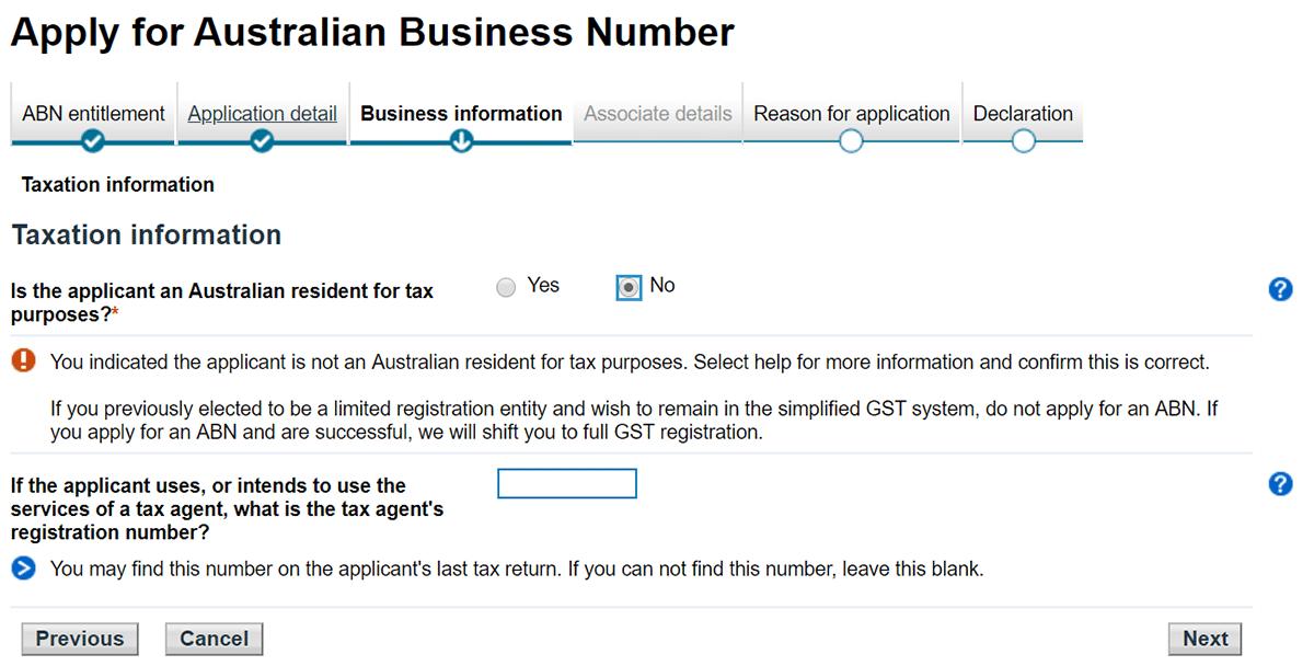 tuto demande abn australie informations concernant les taxes étape 6