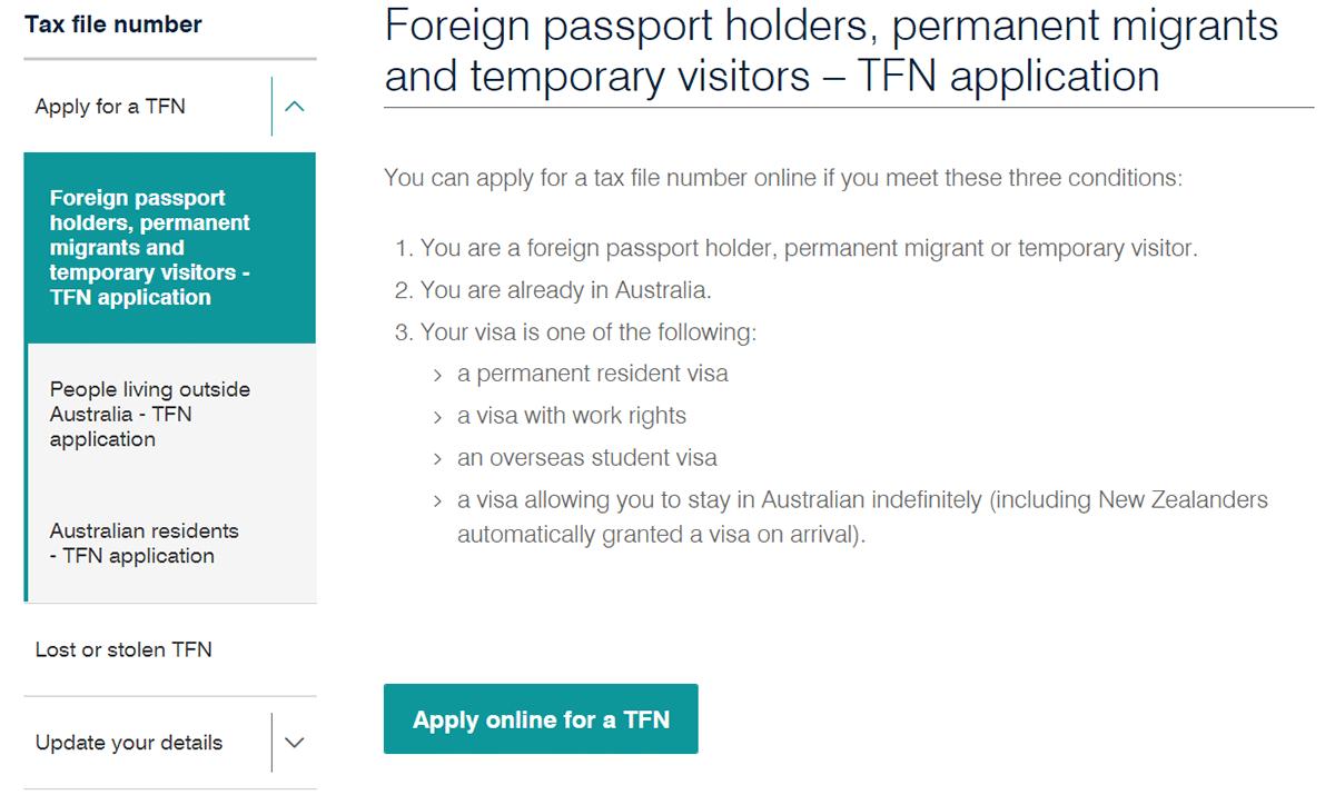 tuto demande tfn australie étape 1