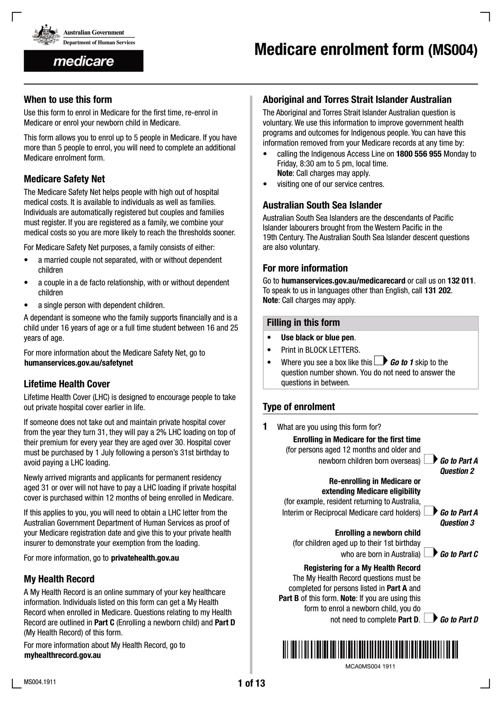 Formulaire d'inscription Medicare MS004 - Page 1