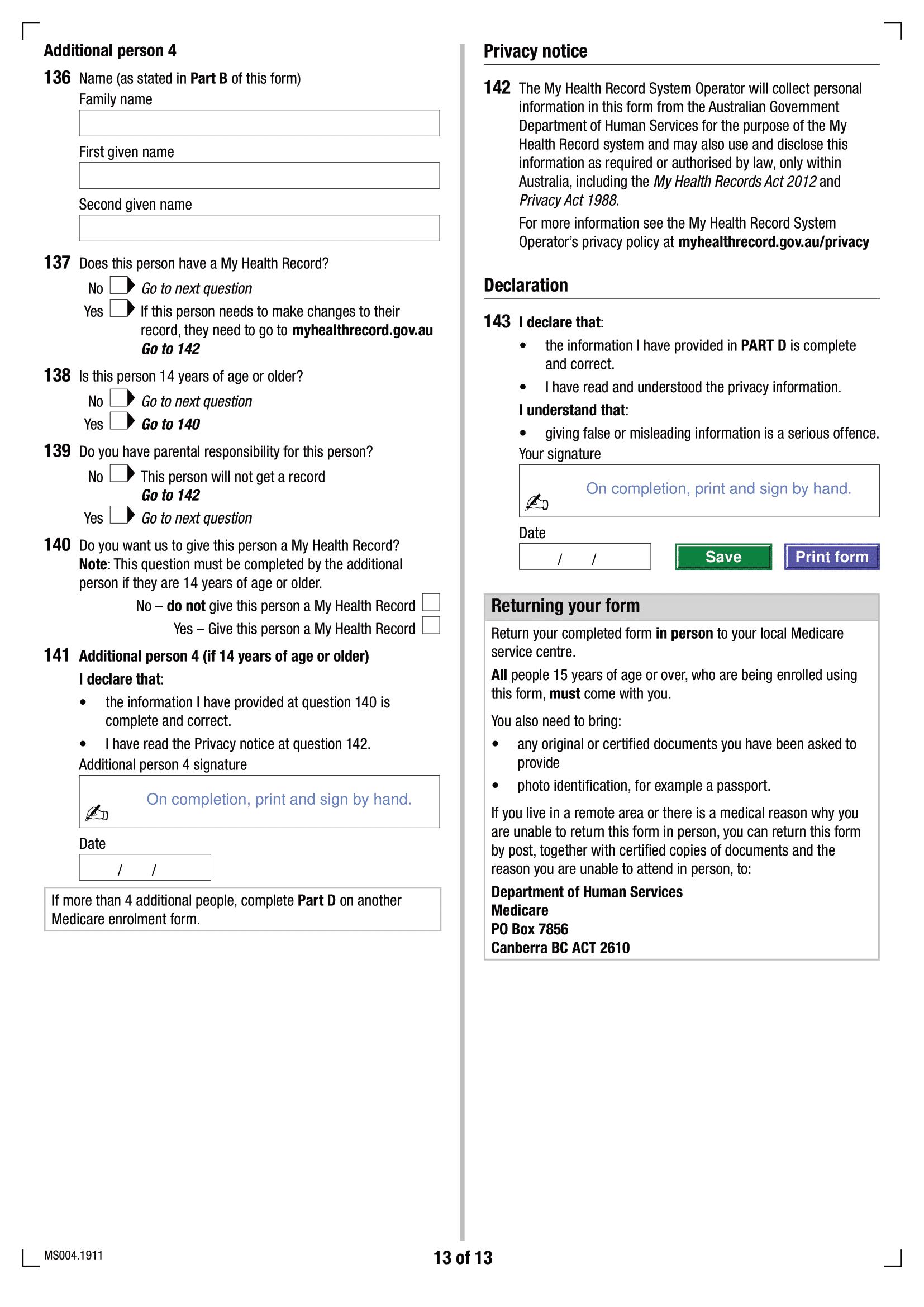 Formulaire d'inscription Medicare MS004 - Page 14