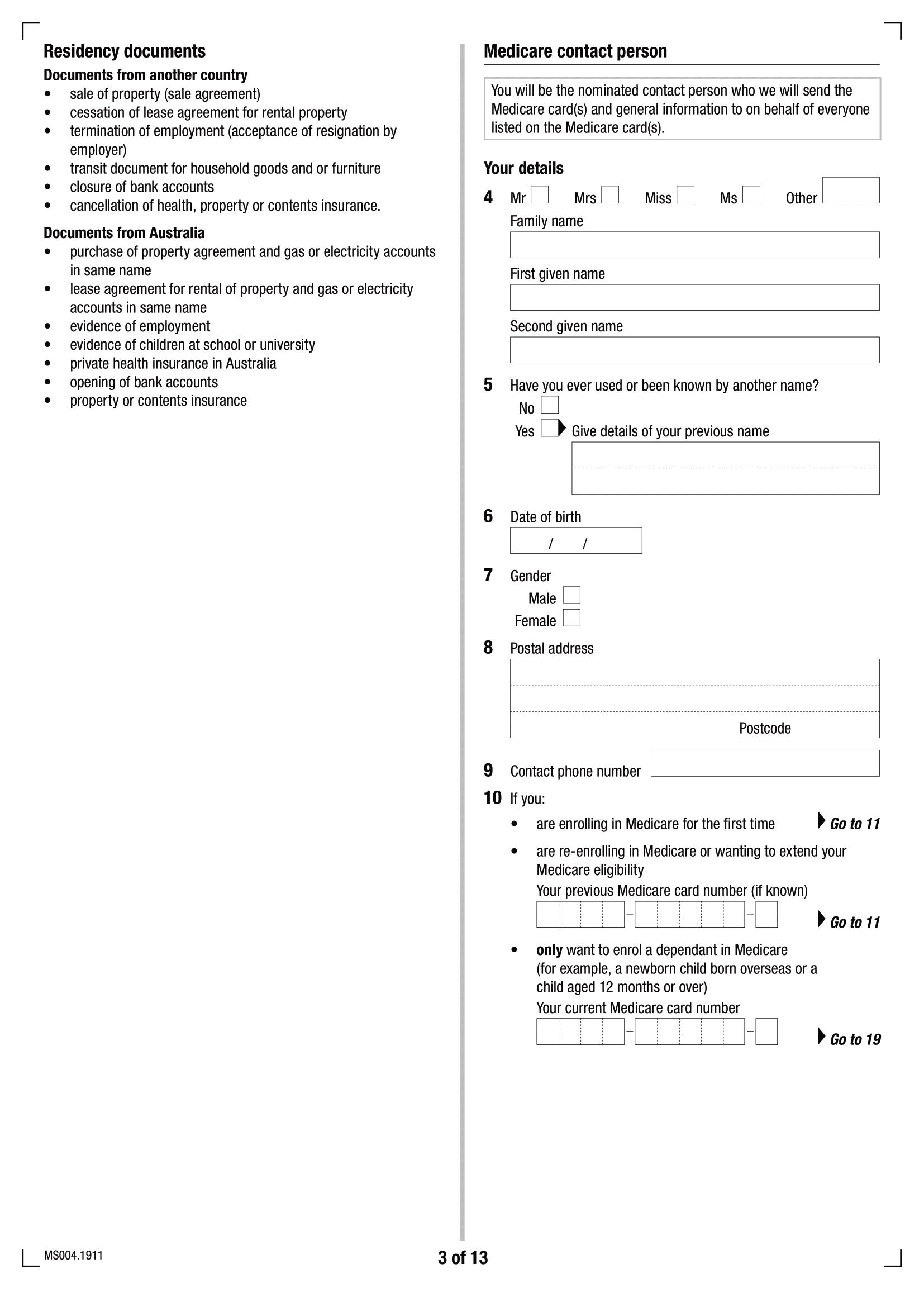 Formulaire d'inscription Medicare MS004 - Page 3