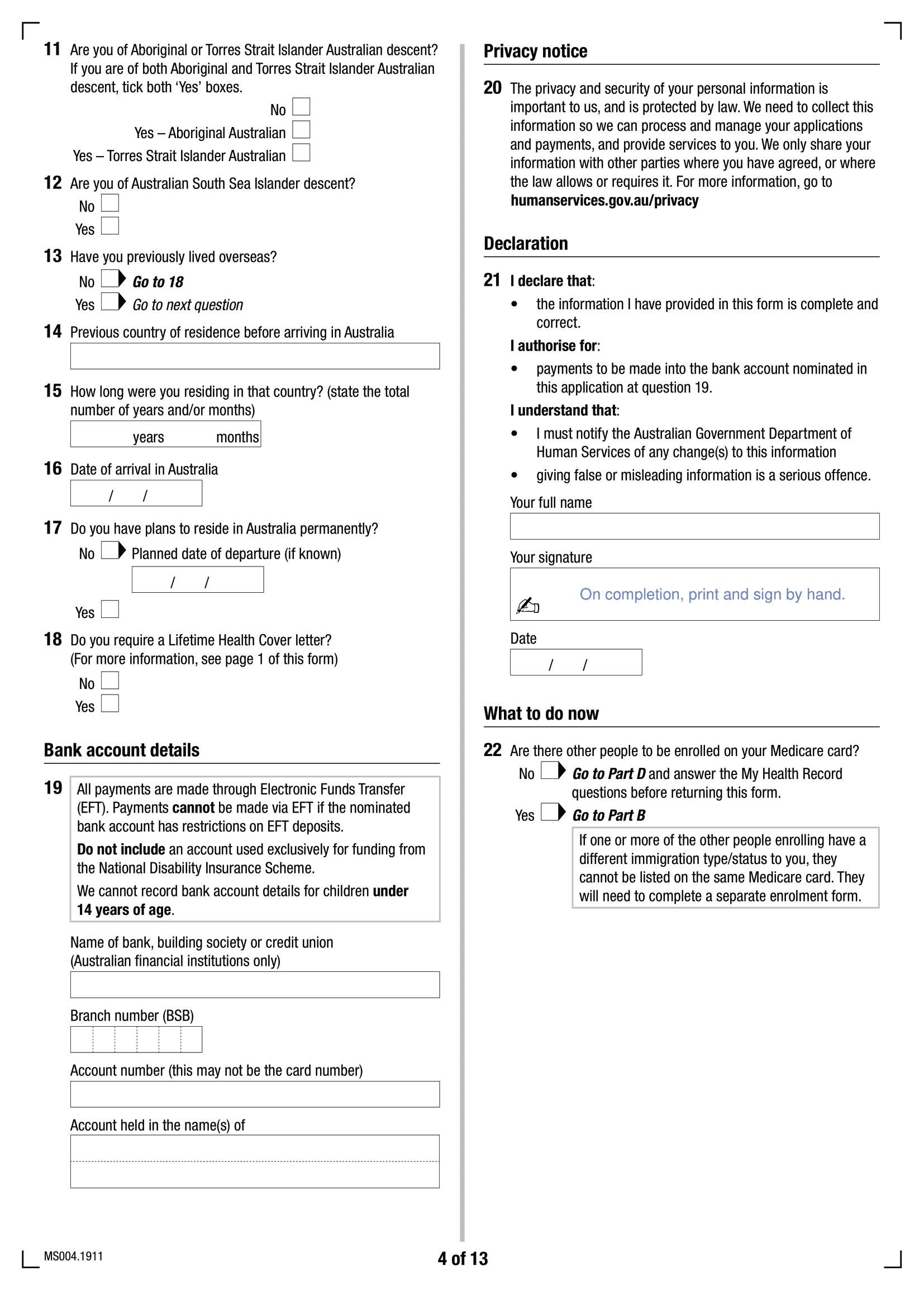 Formulaire d'inscription Medicare MS004 - Page 4