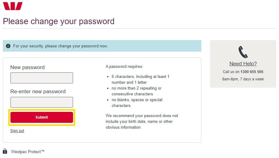 ouvrir un compte westpac changement de mot de passe
